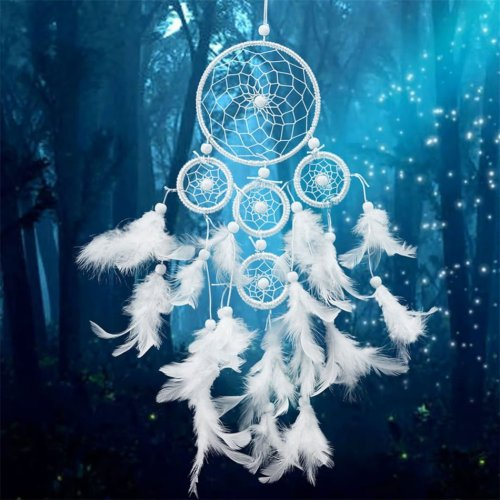 White-Dreamcatcher-Wind-Chimes-Indian-Style-pearl-Feather-Pendant-Dream-Catcher-Gift